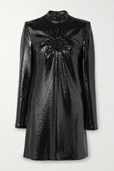 Tom Ford Cutout Sequined Jersey Mini Dress Black