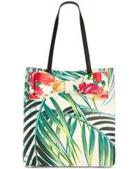Betsey Johnson Floral Tote Palm Print Gold