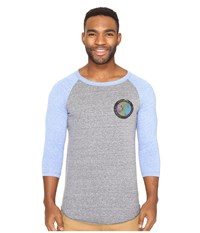 O'neill Outbound Raglan Long Sleeve Screens Impression T Shirt Grey Blue Men's T Shirt Gray