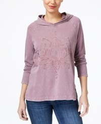 Style And Co Embroidered Hoodie Created For Macy's Lotus Lover Antique Mauve