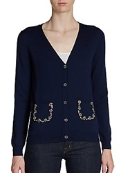Pink Tartan Embellished Pocket Cardigan Navy