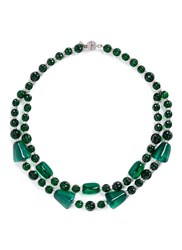 Kenneth Jay Lane Crystal Pave Glass Stone Tiered Necklace Green
