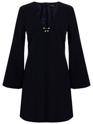 Miss Selfridge Oasis Fluted Sleeve Dress Navy