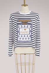 Michaela Buerger I Love Paris Knitwear Navy White Stripes
