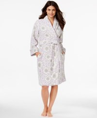 Charter Club Super Soft Short Floral Robe Only At Macy's Purple Garden