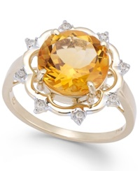 Macy's Citrine 3 1 2 Ct. T.W. And Diamond 1 8 Ct. T.W. Round Cut Ring In 14K Gold Yellow Gold