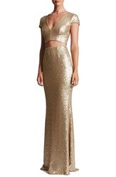 Dress The Population Women's Cara Sequin Two Piece Gown Brushed Gold