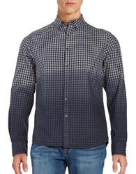 Kenneth Cole Dip Dyed Gingham Sportshirt Patriot Blue