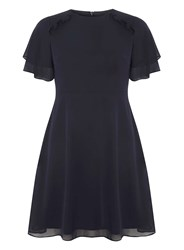 Dorothy Perkins Petite Navy Frill Fit And Flare Dress Blue