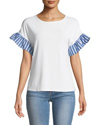Cynthia Steffe Striped Flutter Sleeve Crepe Tee Ivory