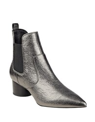 Kendall Kylie Logan Slip On Leather Ankle Boots Pewter