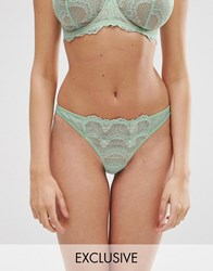 Asos Exclusive Fuller Bust Strappy Fan Lace Thong Mint Green