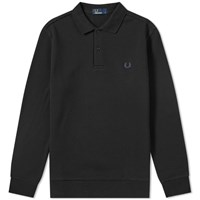 Fred Perry Long Sleeve Fleeceback Polo Black
