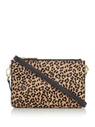 Biba Polly Triple Leather Pouch Crossbody Leopard