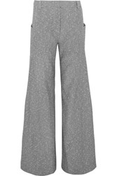 Topshop Unique Wool Blend Tweed Wide Leg Pants Gray