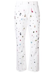 Escada Crystal Embellished Jeans White