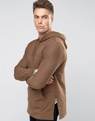 Asos Longline Hoodie With Woven Cut And Sew In Brown Saddle Brown Beige