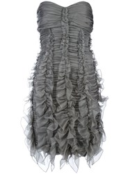 Burberry Prorsum Ruched Strapless Dress Grey