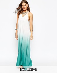 Spiritual Hippie Halter Ombre Maxi Beach Dress Aquawhite