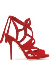 Paul Andrew Ella Cutout Suede Sandals Red