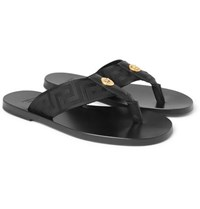 3bd3846e543e17 Versace Logo Embellished Leather And Webbing Flip Flops Black