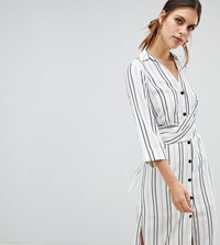 River Island Wrap Front Striped Shirt Dress In White Cream