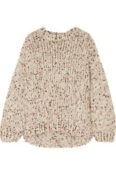 Brunello Cucinelli Sequined Chunky Knit Sweater Beige