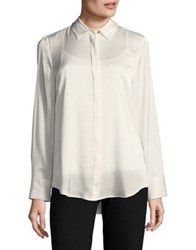 Donna Karan Long Sleeve Button Down Shirt With Camisole Ivory
