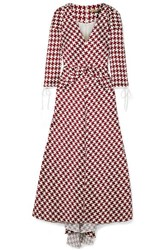 Hellessy Twisted Houndstooth Slub Satin Midi Dress Claret