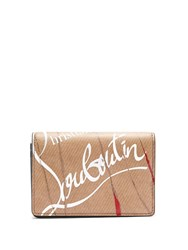 Christian Louboutin Loubeka Kraft Print Leather Cardholder Beige