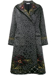 J.W.Anderson Floral And Squiggle Embroidered Coat Black