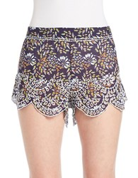 Free People Scalloped Eyelet Lace Shorts Purple Combo