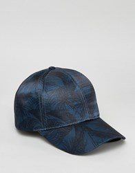 Asos Baseball Cap In Palm Print Blue