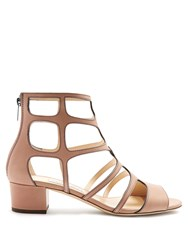 Jimmy Choo Ren 35Mm Block Heel Leather Sandals Nude