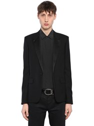 Saint Laurent Wool And Mohair Gabardine Tuxedo Jacket Black