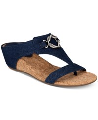 Impo Guevera Slip On Thong Wedge Sandals Women's Shoes Denim Fabric