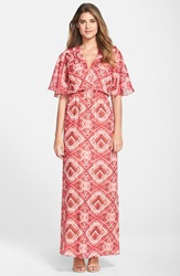 Kut From The Kloth Flutter Sleeve Print Maxi Dress Pink Nude