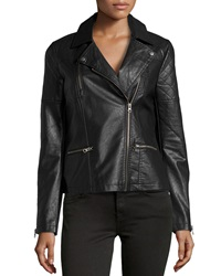 Neiman Marcus Faux Leather Quilted Inset Moto Jacket Black