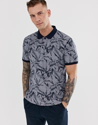 Celio Polo With Leaf Print In Navy