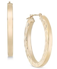 Macy's Flower Etched Oval Hoop Earrings In 10K Gold Yellow Gold