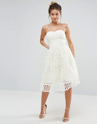 Chi Chi London Strapless Premium Lace Dress Cream