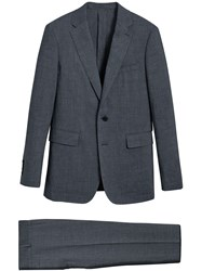 Burberry Soho Fit Three Piece Linen Wool Suit Blue