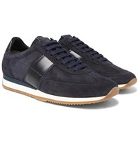 Tom Ford Orford Leather Trimmed Suede Sneakers Navy