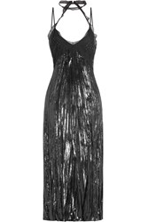 Nina Ricci Silk Dress With Chiffon Trims Black