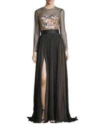 Catherine Deane Jocelyn Evening Gown W Embroidered Illusion Bodice And Pleated Skirt Black Almond