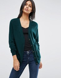Asos Boyfriend Cardigan In Cashmere Mix Forest Green