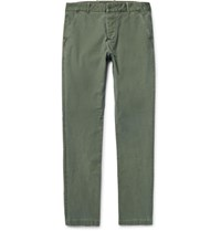 James Perse Slim Fit Stretch Cotton Chinos Army Green