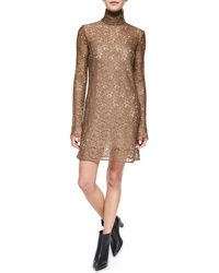 Acne Studios Long Sleeve Lace Turtleneck Dress Brown