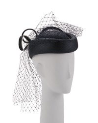 Marzi Veiled Pillbox Hat Navy