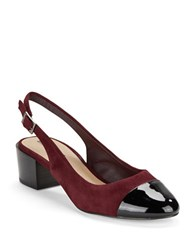 Tahari Express Cap Toe Sling Backs Wine Black